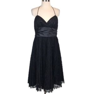 Betsey Johnson Vintage Black Pleated Lace Dress